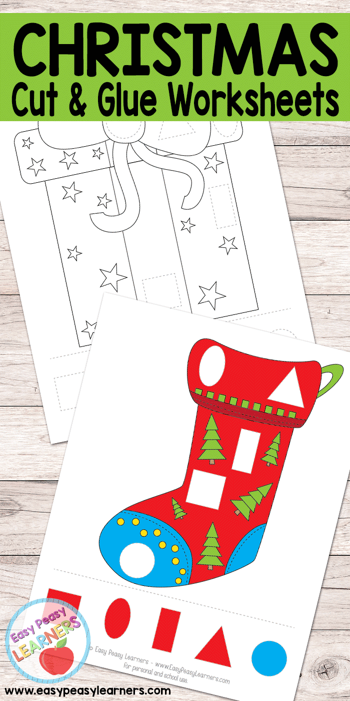 hight resolution of Free Christmas Cut and Glue Worksheets - Easy Peasy Learners