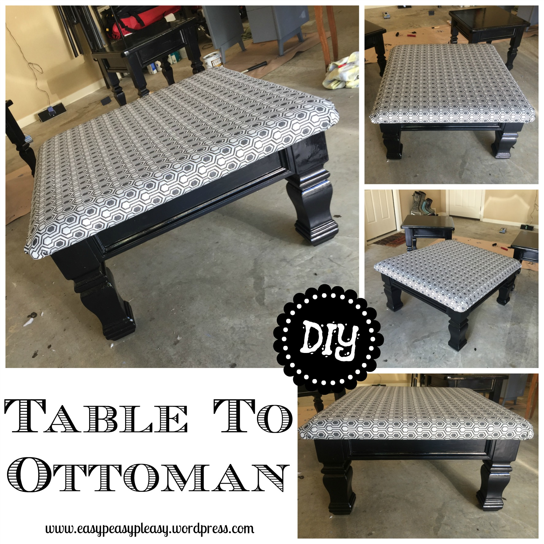 DIY Table To Ottoman And How To Paint Furniture Without Sanding