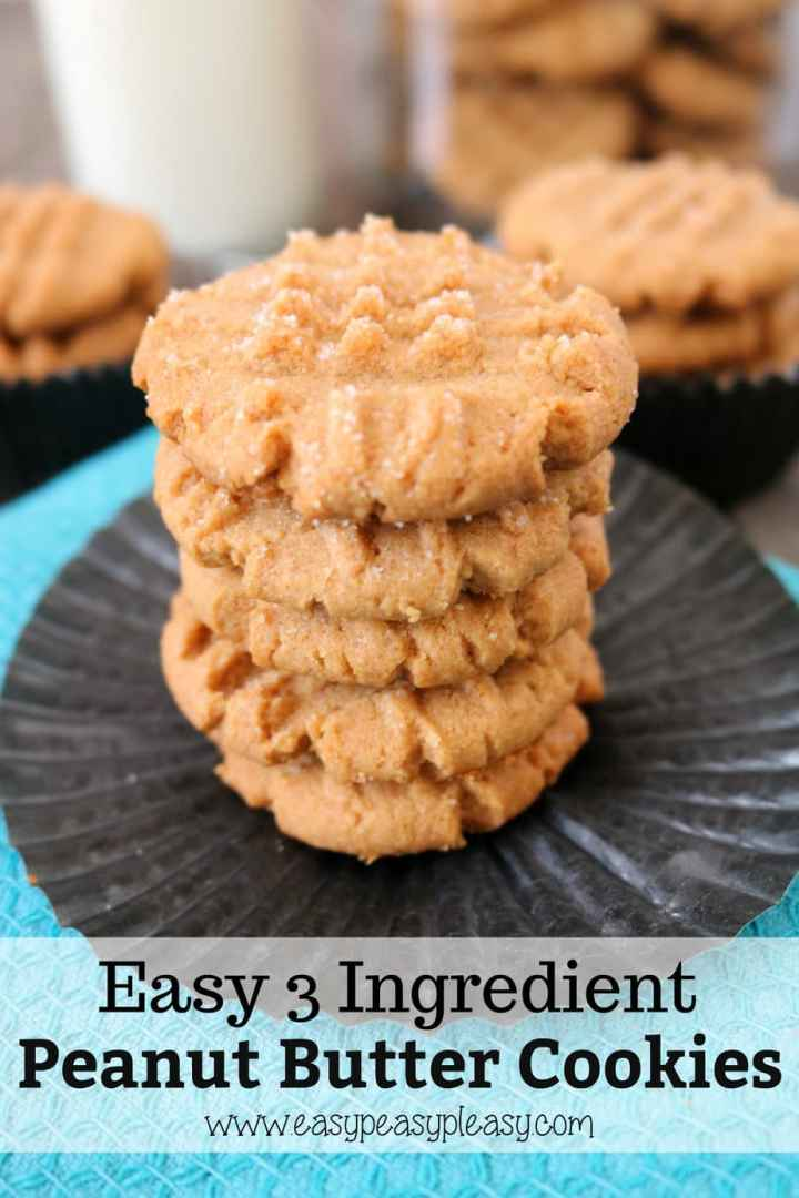 Satisfy your sweet tooth craving in a flash with these 3 ingredient Peanut Butter Cookies.