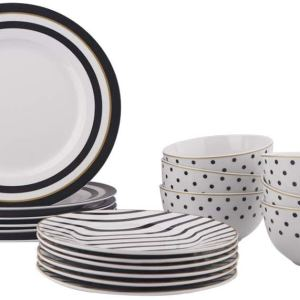 AmazonBasics 18-Piece Kitchen Dinnerware Set,