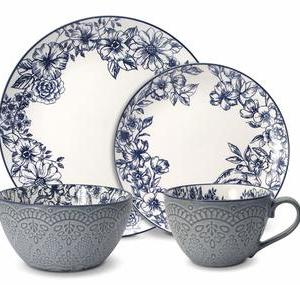 Pfaltzgraff 5216941 Gabriela Blue 16-Piece Dinnerware Set, Service for 4