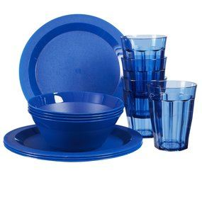 Cambridge Plastic Plate, Bowl and Tumbler Dinnerware 12-piece set Blue
