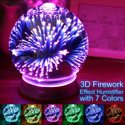 3D LED Air Cleaner Purifier Aromatherapy Essential Oil Aroma Diffuser Humidifier
