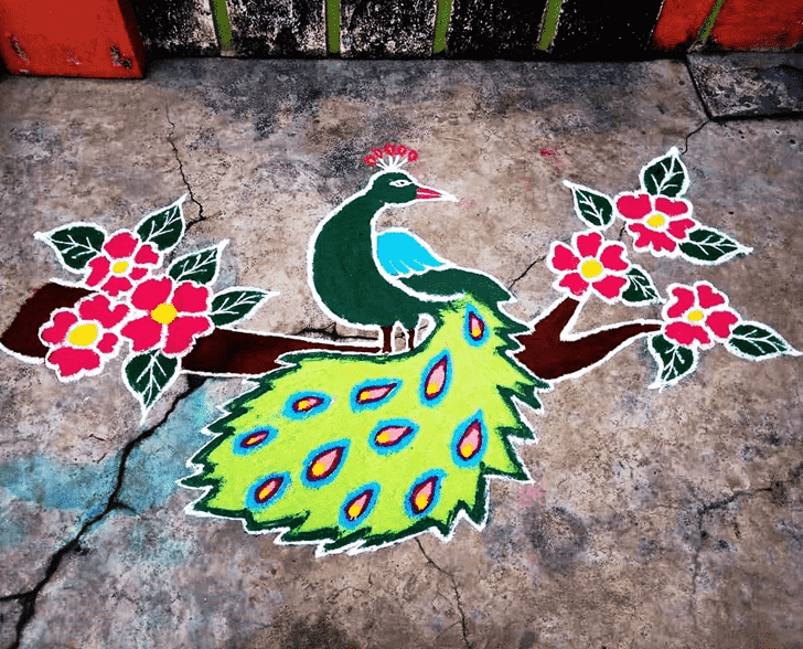 Beauteous Bird Rangoli