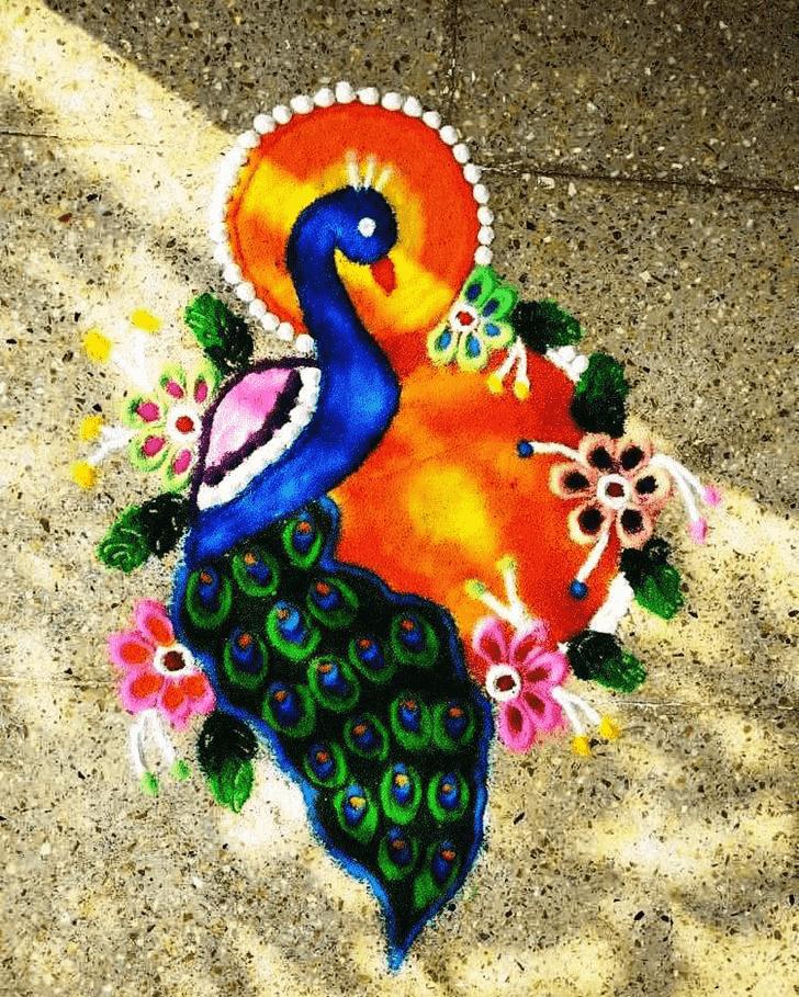 Classy Bird Rangoli