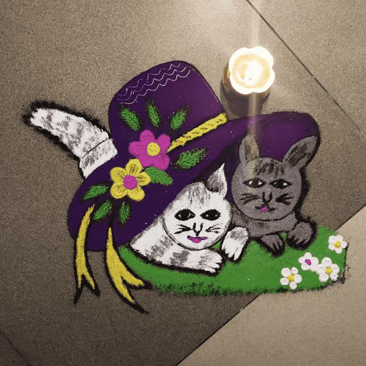 Angelic Cat Rangoli