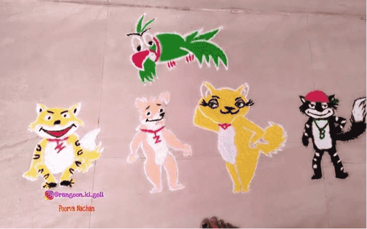 Appealing Cat Rangoli