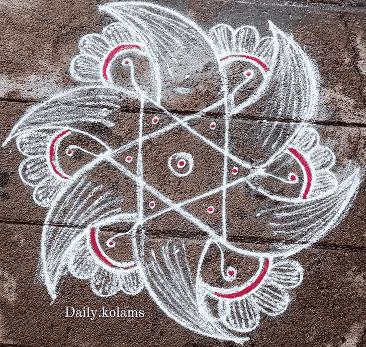 Admirable Chalk Rangoli Design