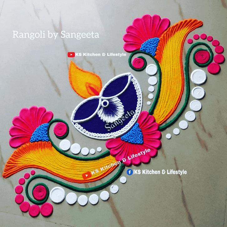 Admirable Diya Rangoli Design