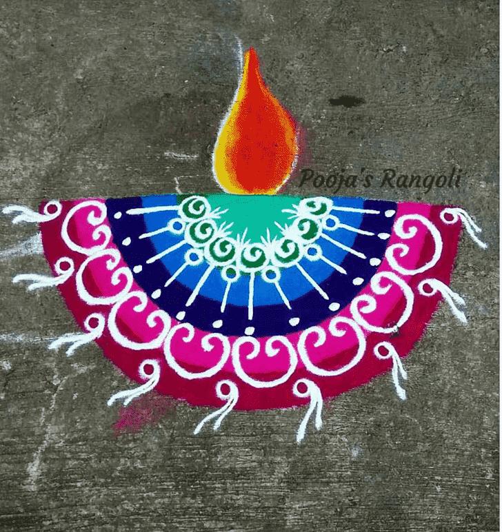Bewitching Diya Rangoli