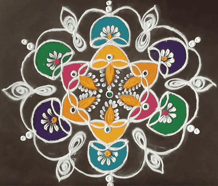 Dazzling Diya Rangoli
