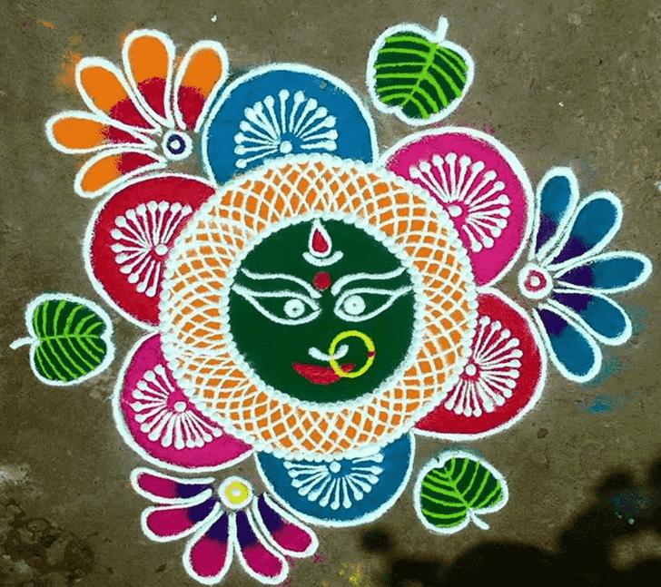 Admirable Durga Rangoli Design