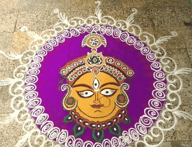Amazing Durga Rangoli