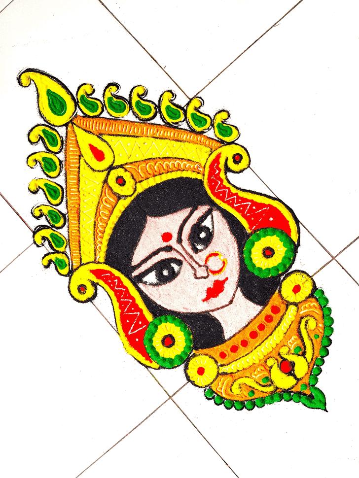 Alluring Durga Rangoli