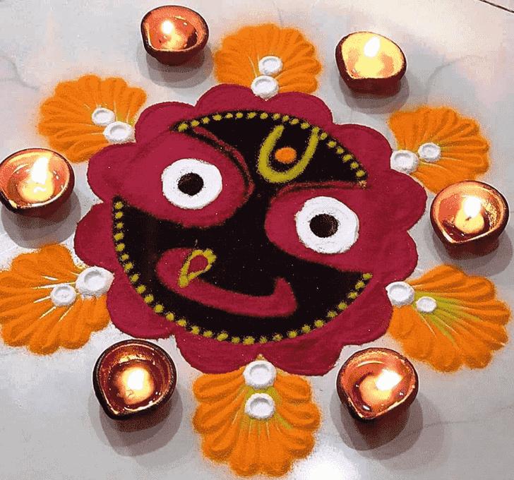 Appealing Durga Rangoli