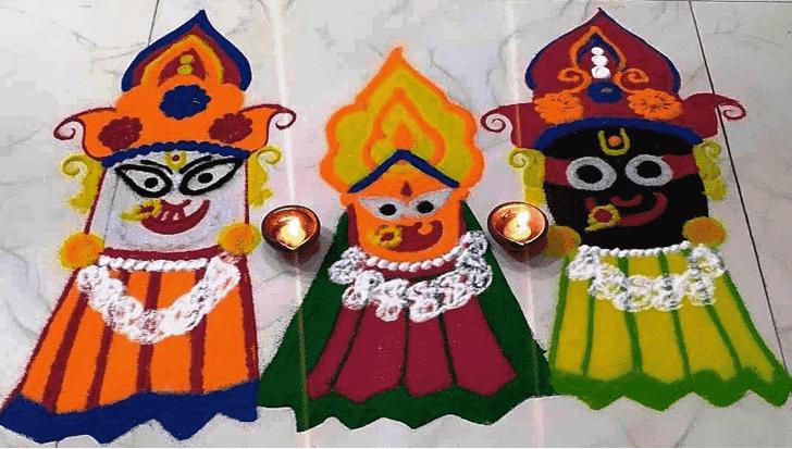 Beauteous Durga Rangoli