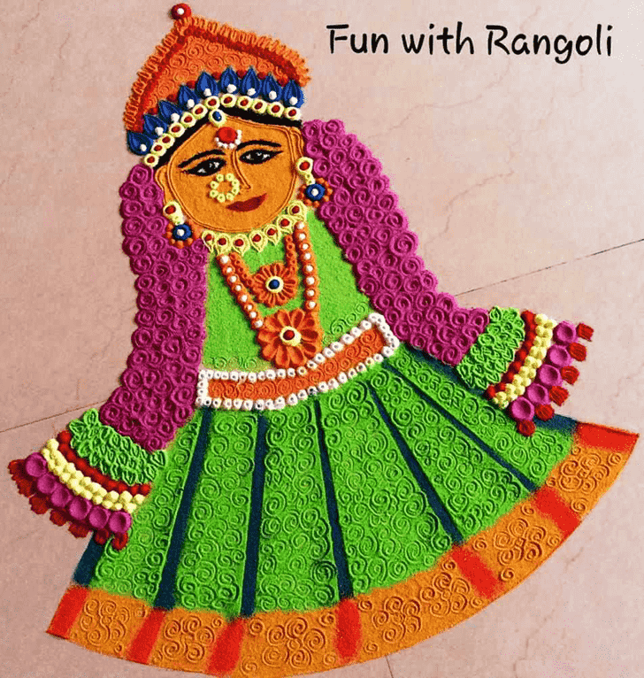 Bewitching Durga Rangoli
