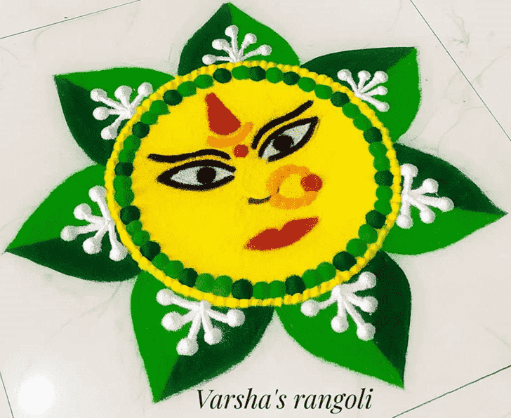 Classy Durga Rangoli