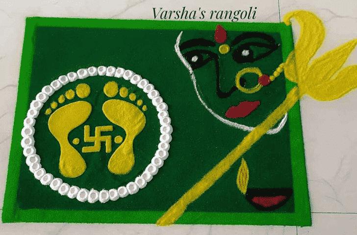 Comely Durga Rangoli