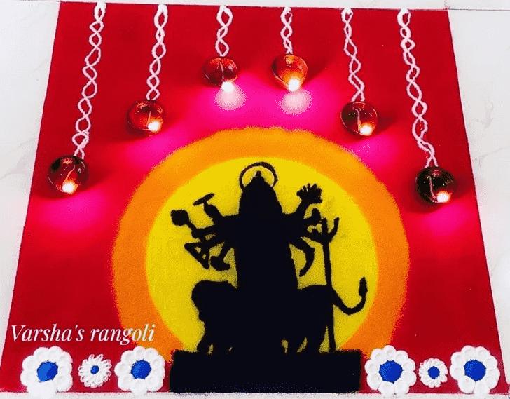 Dazzling Durga Rangoli