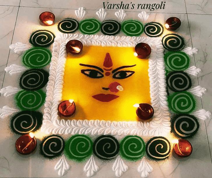 Delicate Durga Rangoli