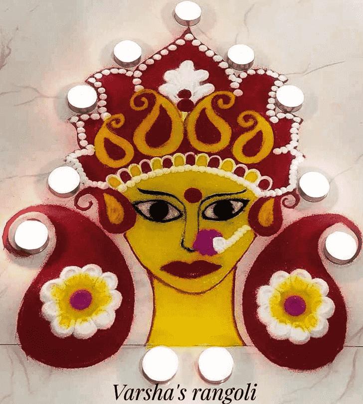 Delightful Durga Rangoli