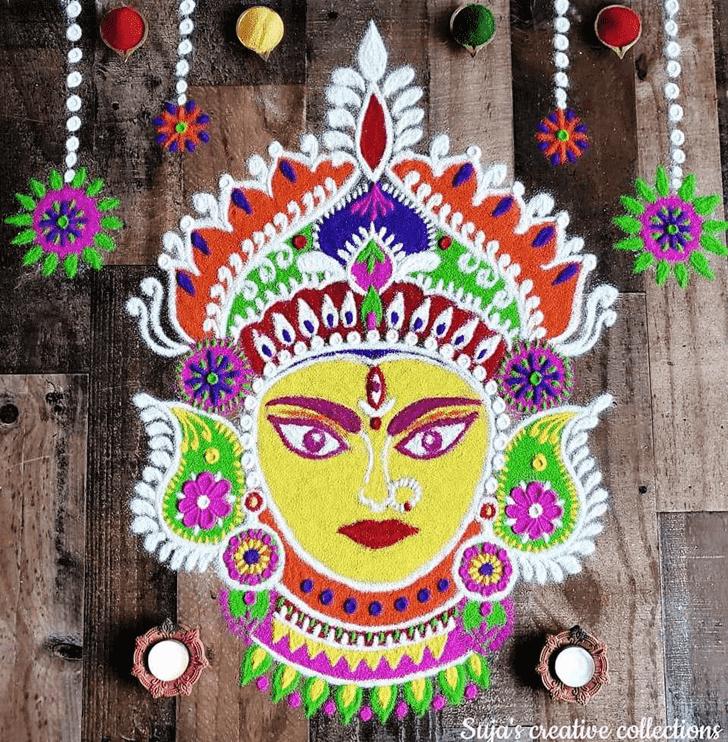 Elegant Durga Rangoli