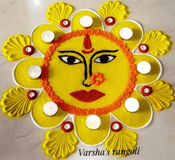 Enticing Durga Rangoli