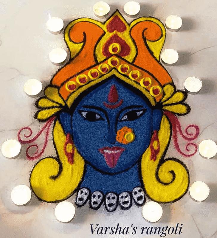 Excellent Durga Rangoli