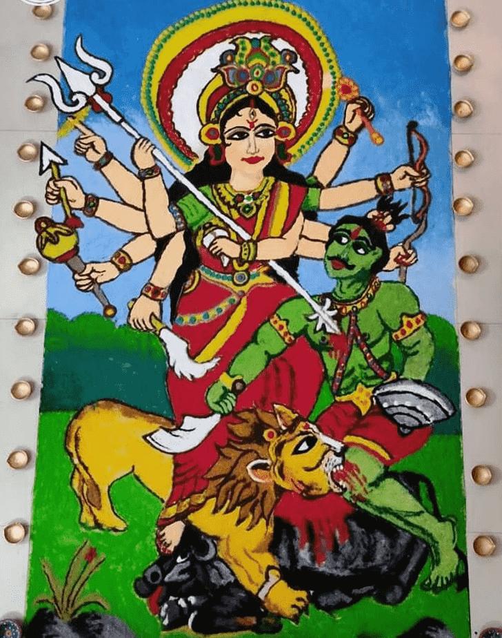 Fetching Durga Rangoli