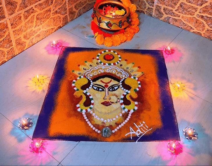 Fine Durga Rangoli