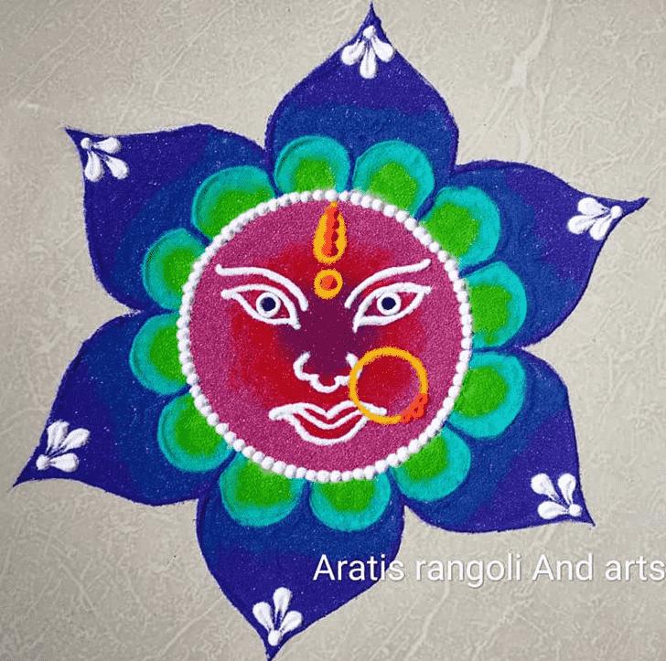 Good Looking Durga Rangoli