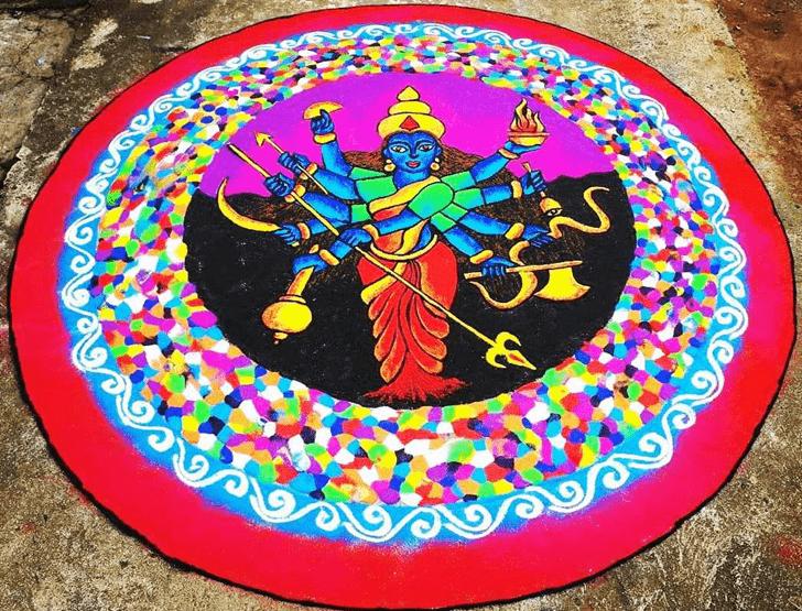 Grand Durga Rangoli