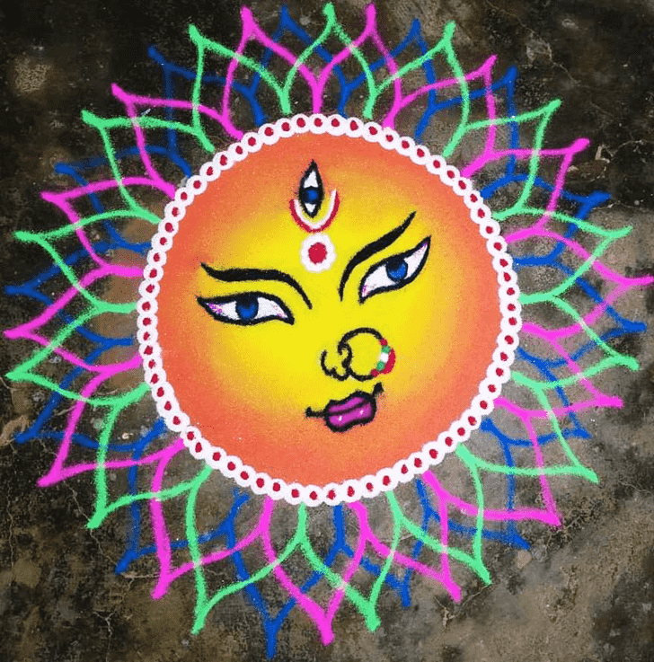 Magnetic Durga Rangoli