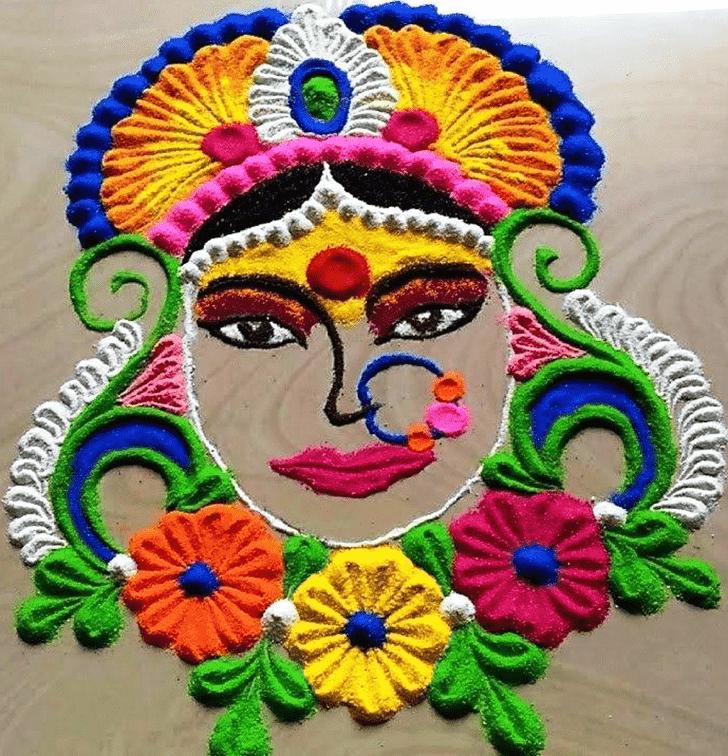 Marvelous Durga Rangoli