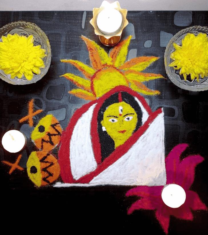 Pleasing Durga Rangoli