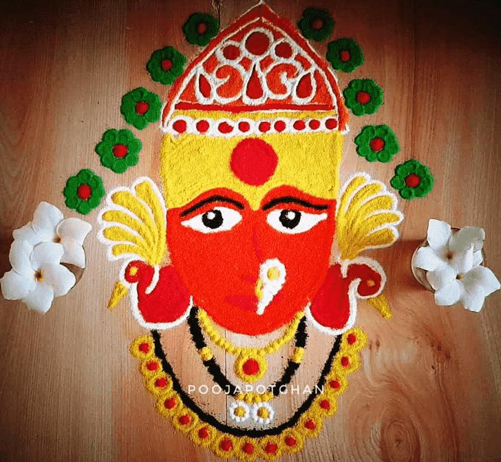 Radiant Durga Rangoli