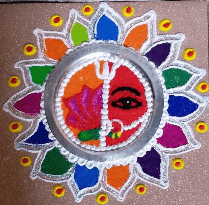 Resplendent Durga Rangoli