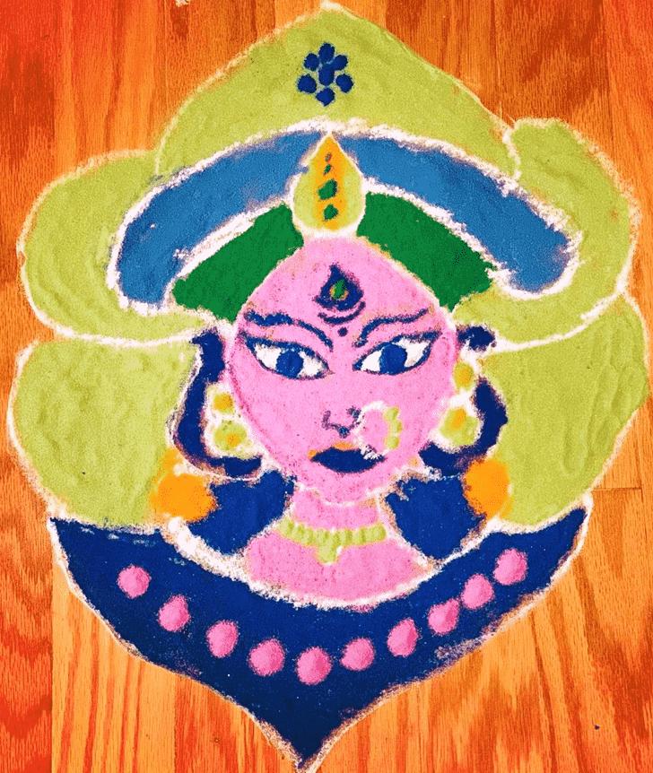 Shapely Durga Rangoli
