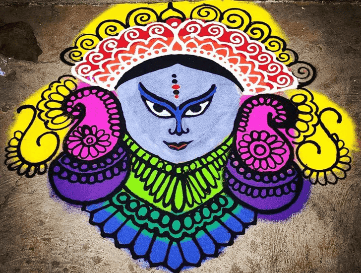 Superb Durga Rangoli