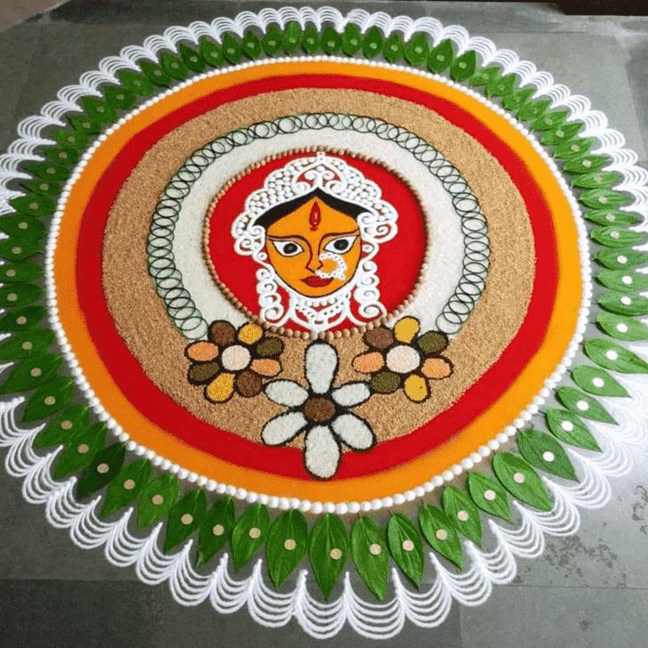 Wonderful Durga Rangoli Design