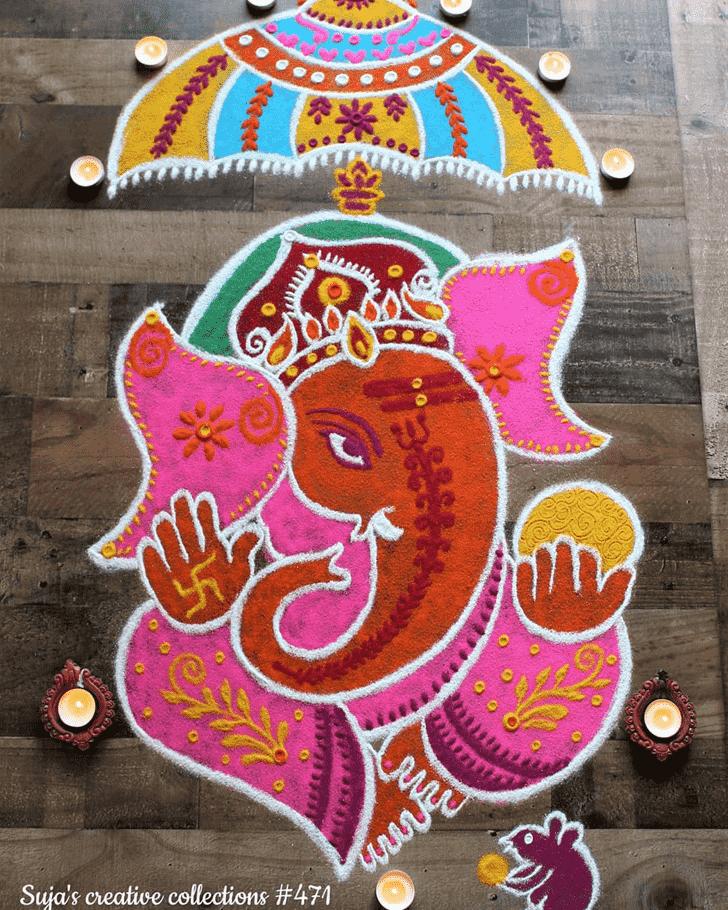 Alluring Durva Ashtami Rangoli