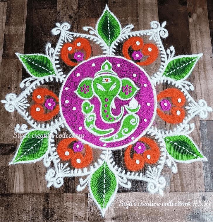 Appealing Durva Ashtami Rangoli
