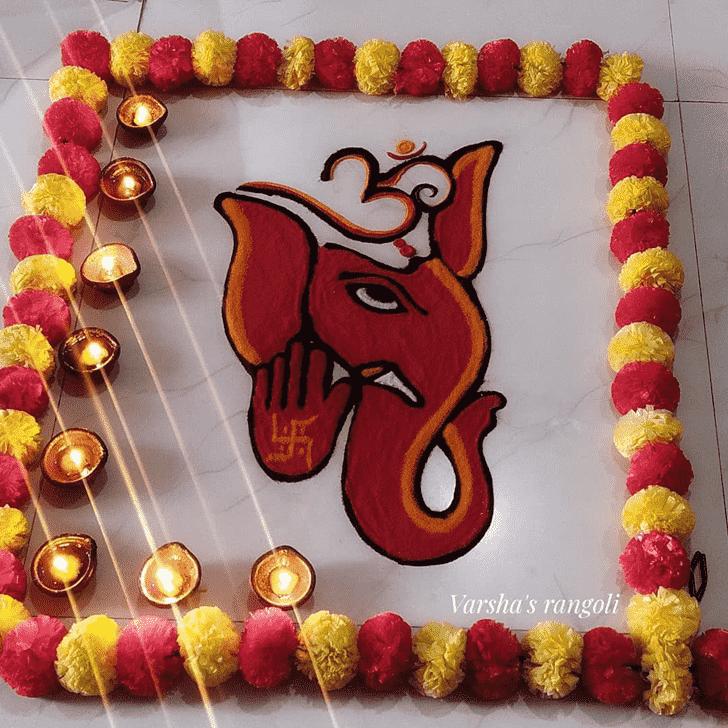 Charming Durva Ashtami Rangoli