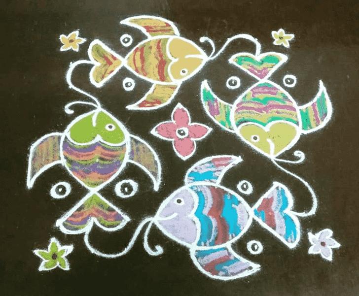 Alluring Fish Rangoli