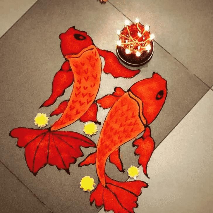 Angelic Fish Rangoli