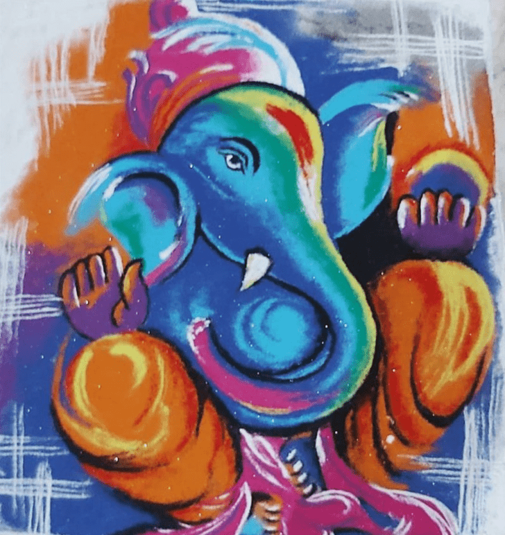 Admirable Ganesh Rangoli Design