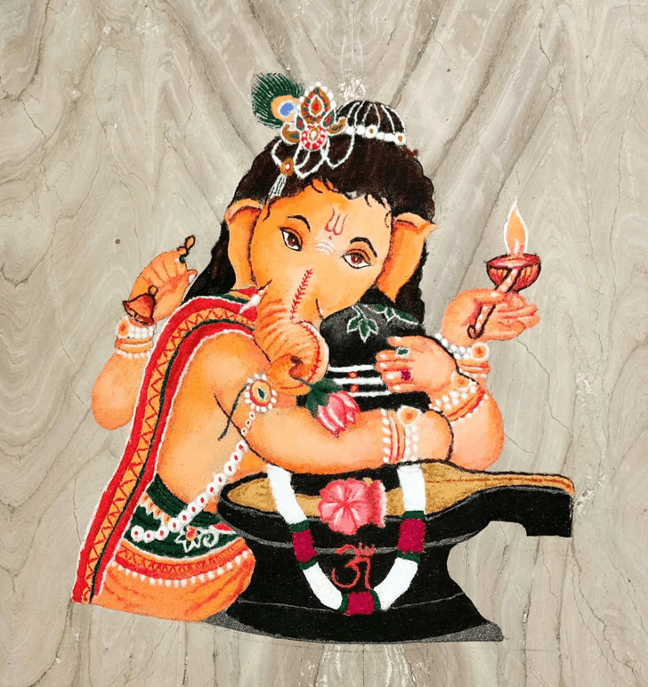 Appealing Ganesh Rangoli