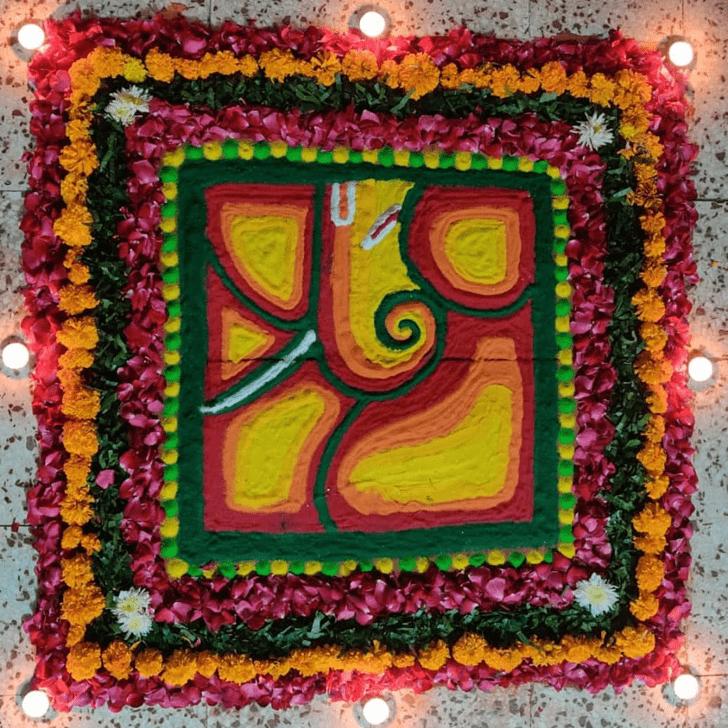 Charming Ganesh Rangoli