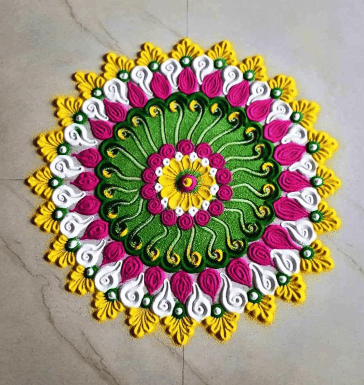 Admirable Gayatri Jayanti Rangoli Design